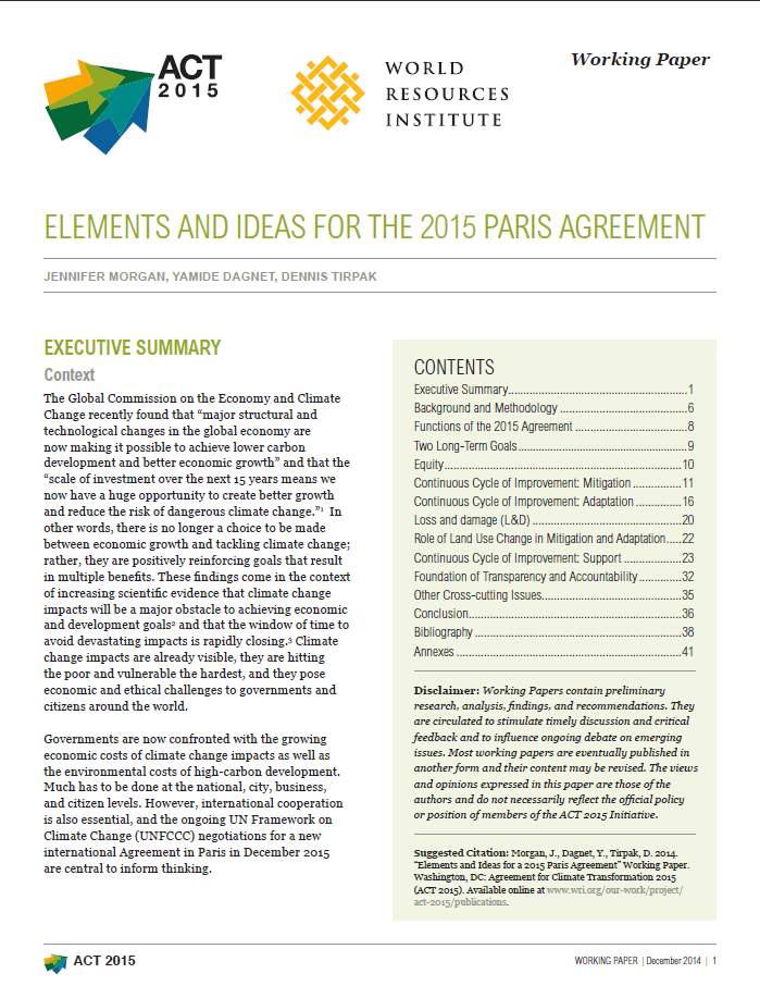 Elements And Ideas For The 2015 Paris Agreement World Resources