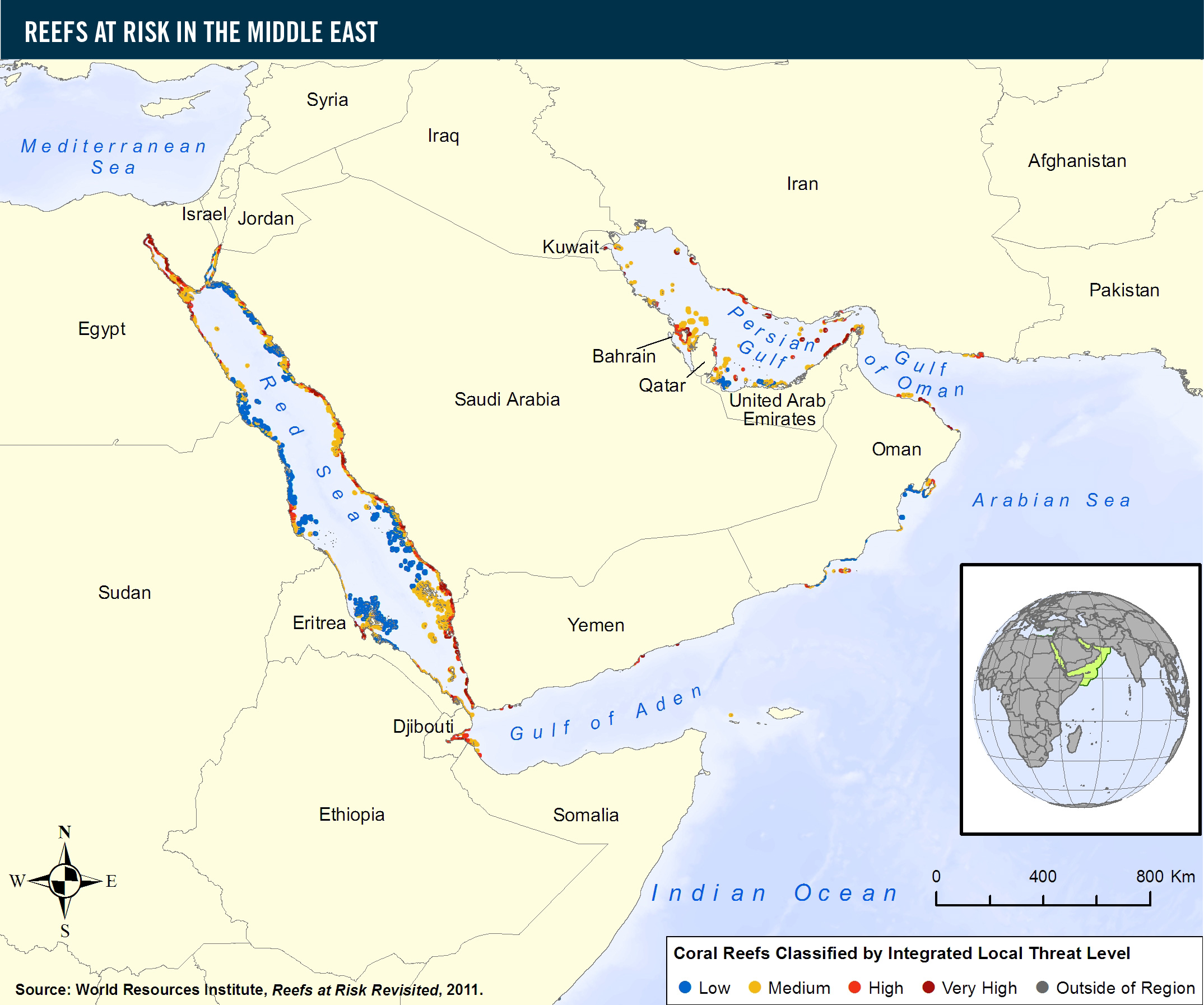 Reefs at risk in the middle east world resources institute view global map of threats to coral reefs gumiabroncs Gallery