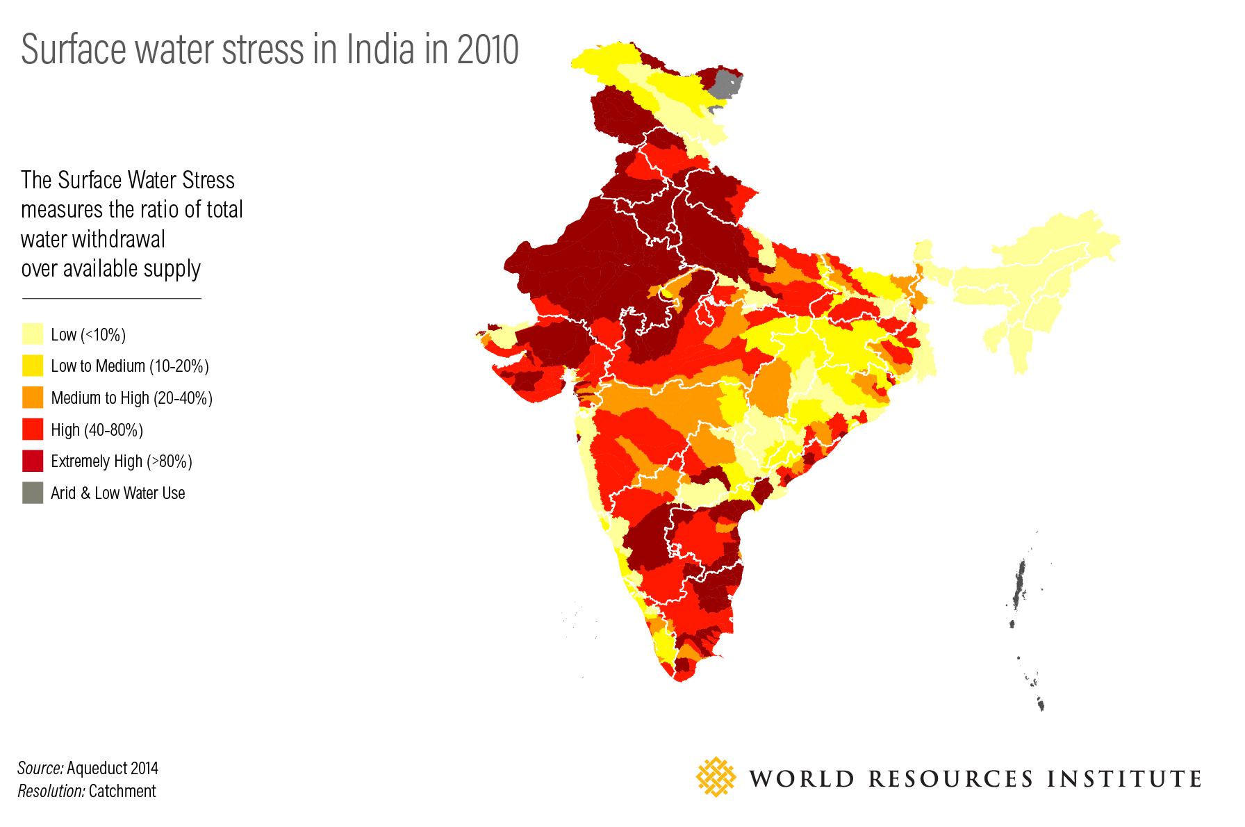 <p>Figure 1: Surface water stress in India in 2010</p>