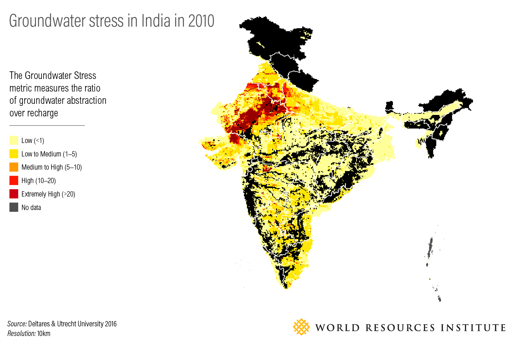 <p>Figure 2: Groundwater stress in India in 2010</p>