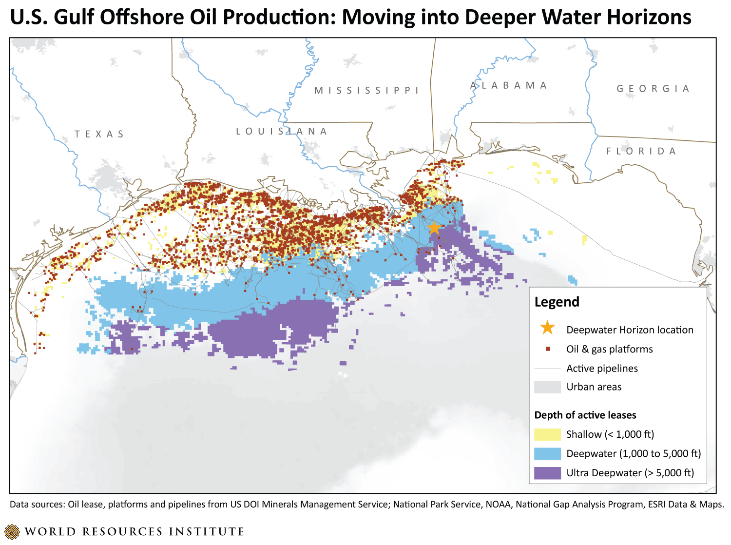 US Gulf Offshore Oil Production Moving into Deeper Water Horizons