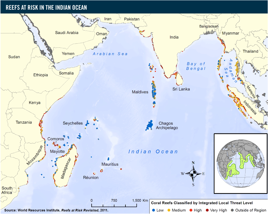 Reefs at risk in the indian ocean world resources institute more than 65 percent of coral reefs in the indian ocean region are at risk from local threats ie coastal development overfishingdestructive fishing gumiabroncs Images