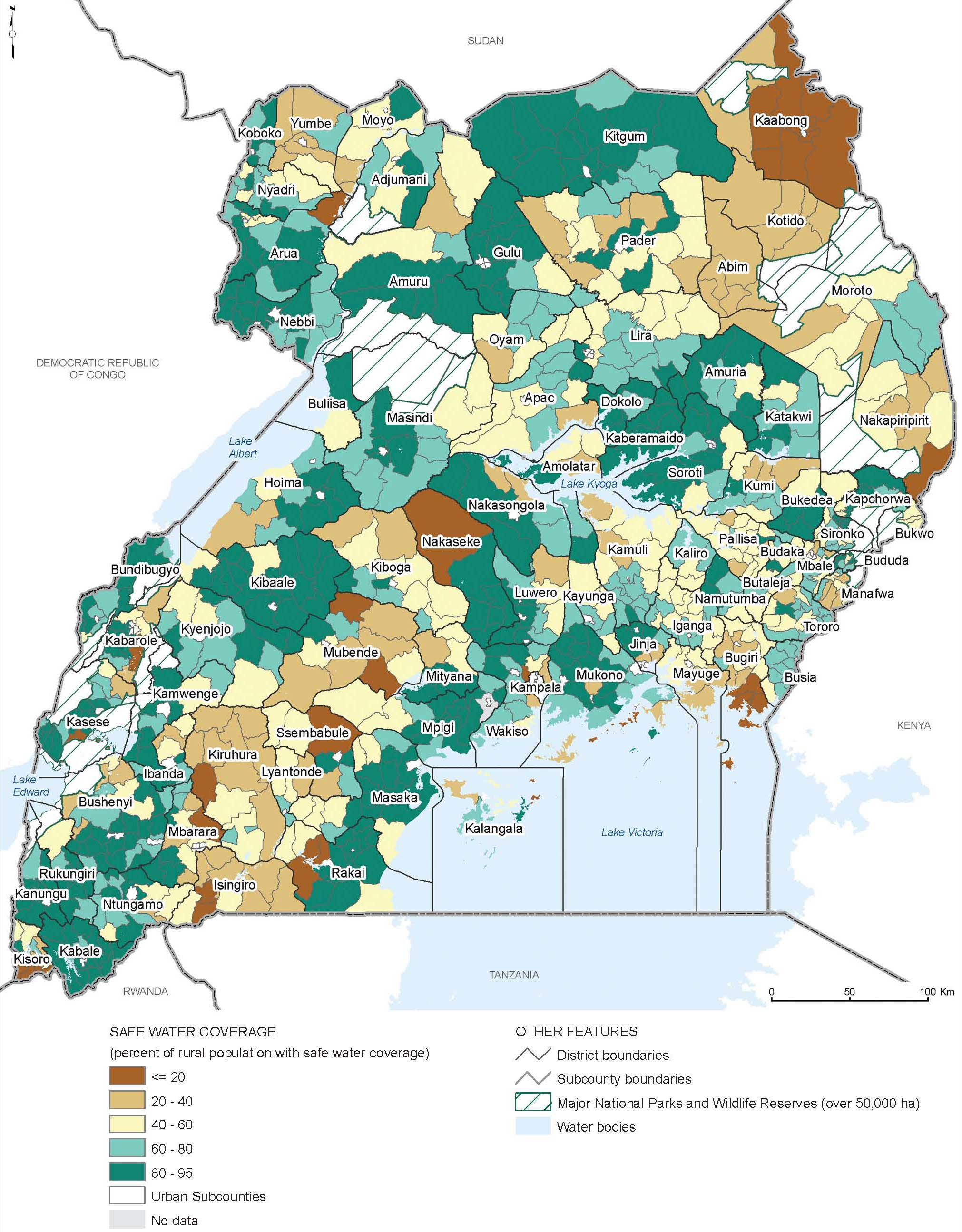 Uganda proportion of rural subcounty population with safe drinking this map shows the proportion of the rural subcounty population with safe drinking water coverage the brown areas represent low percentages of safe gumiabroncs Gallery