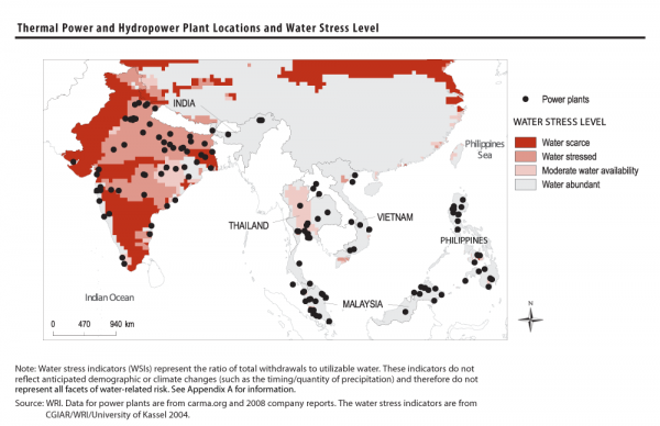 Thermal power and hydropower plant locations and water stress level wri mapped water scarcity data with plant locations for the largest publicly listed power generation companies in southeast asia gumiabroncs Choice Image