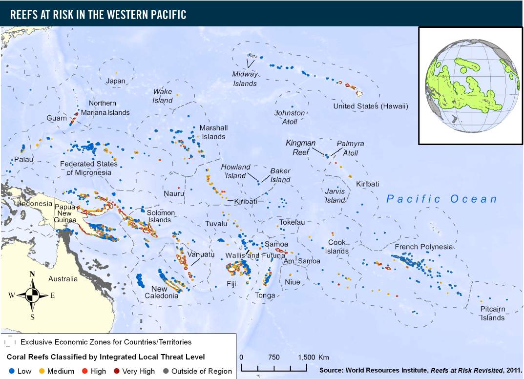 Reefs at risk in the western pacific world resources institute about 50 percent of the coral reefs in the pacific region are at risk from local threats ie coastal development overfishingdestructive fishing gumiabroncs Gallery