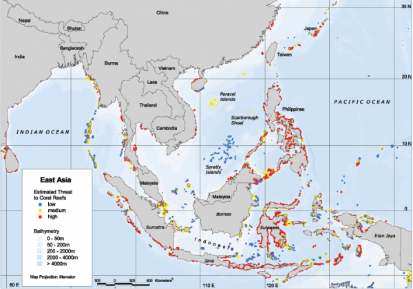 east asia reefs at risk regional map