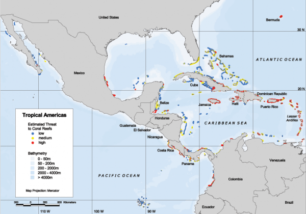 Tropical americas reefs at risk regional map world resources about 9 percent of the worlds mapped reefs are found in this region most of which are located along the central american coast and off the caribbean gumiabroncs Images