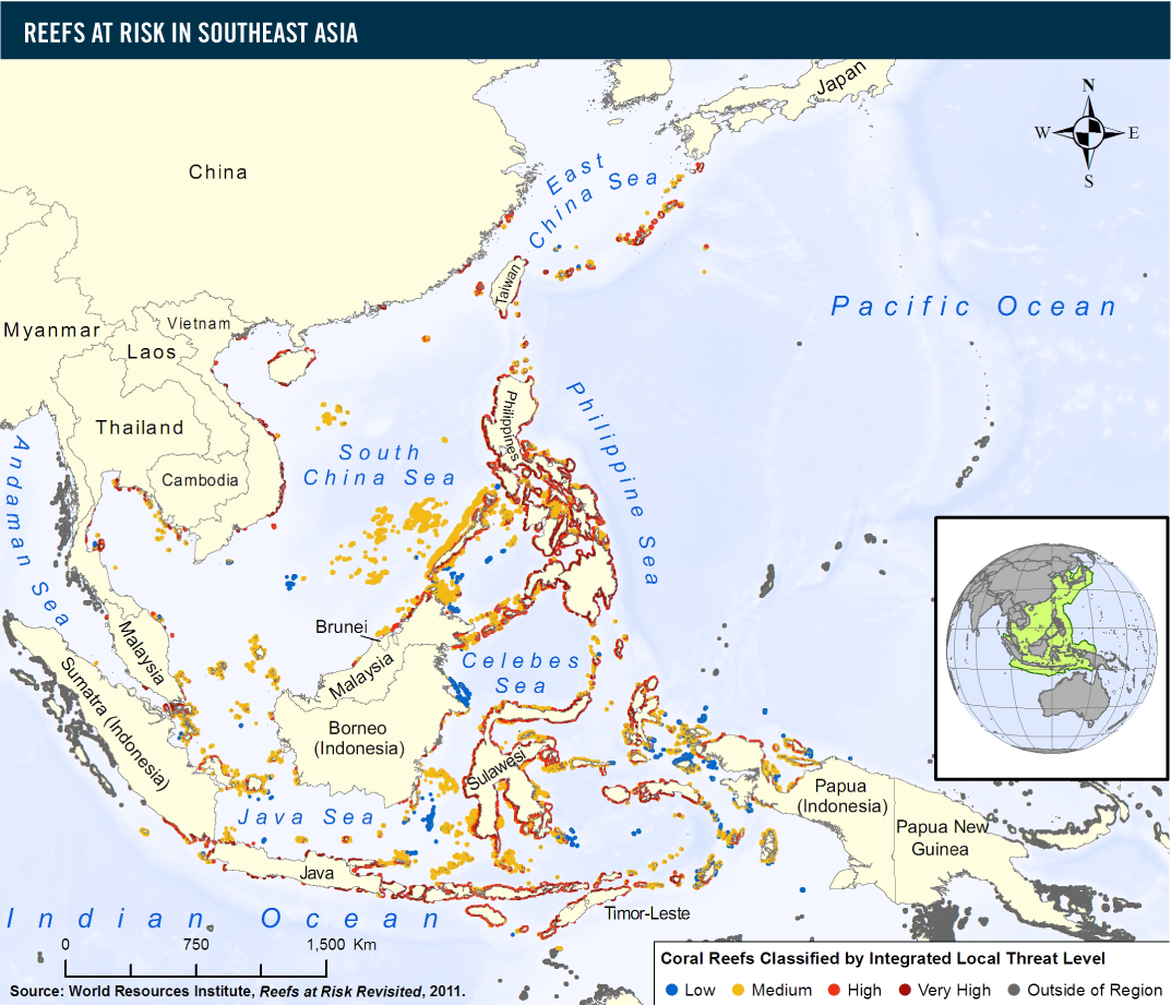The Coral Reefs In Southeast Asia Are The Most Threatened In The World.  About 95 Percent Are At Risk From Local Threats (i.e., Coastal Development,  ...