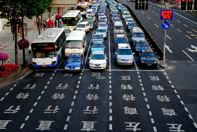 Traffic in Shanghai, China. Photo by Carlos ZGZ/Flickr.