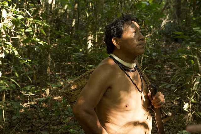 Yudja man in Amazon forest