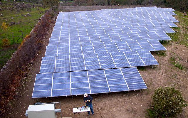 A solar array in California. Photo by Steve Jurvetson/Flickr.