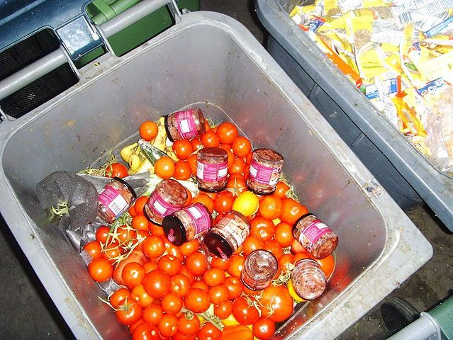 Discarded food in a dumpster