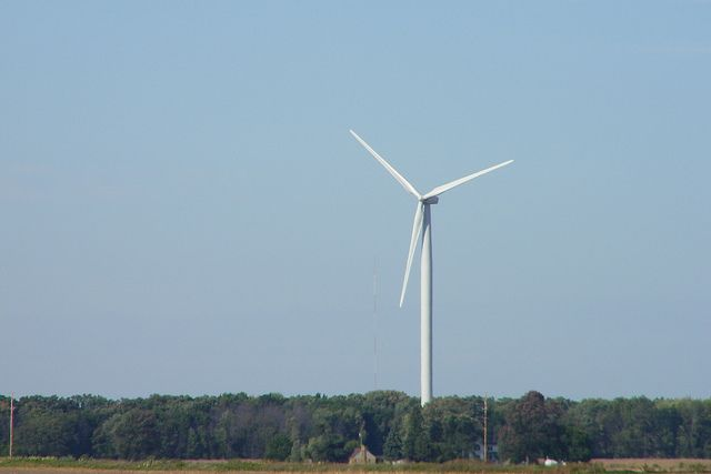 Great wind farm near Alma, Michigan in Gratiot County, Michigan.
