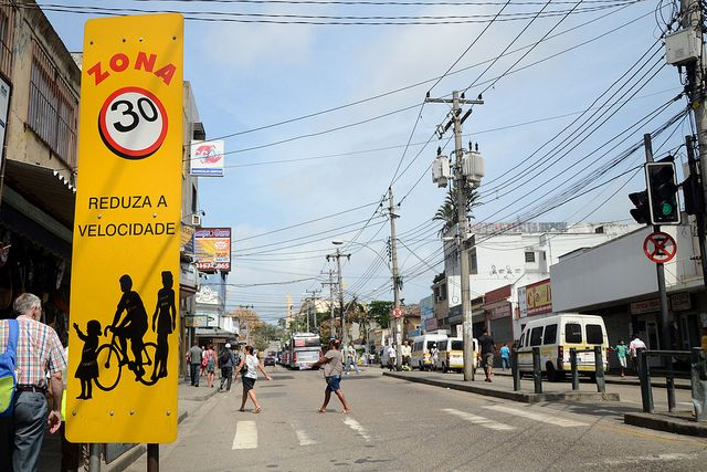Speed limit sign and pedestrian crossing in Rio de Janeiro, Brazil