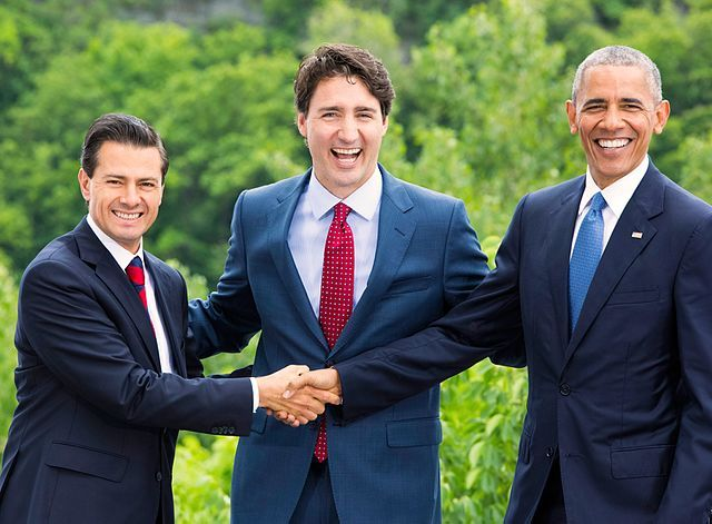 From left to right: President of Mexico Enrique Peña Nieto, Prime Minister of Canada Justin Trudeau, U.S. President Barack Obama
