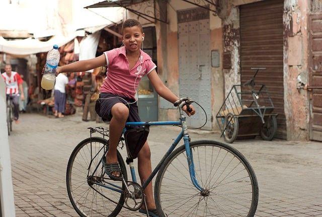 Boy riding bike in Marrakech