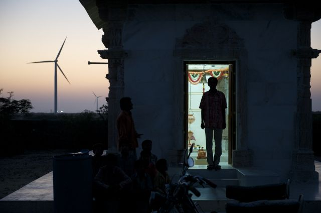 Man by doorway in India