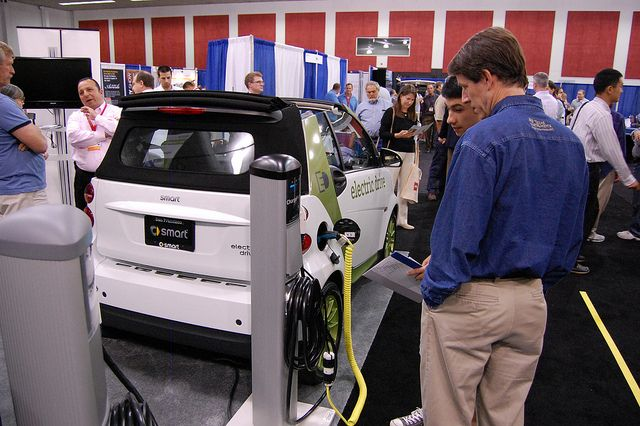 Electric vehicle battery prices fell 40 percent since 2008. Photo credit: Kevin Krejcl/Flickr