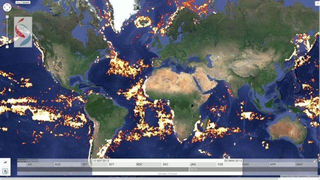 Global Fishing Watch uses satellite data to track fishing vessels around the world in near-real time. Image by Global Fishing Watch