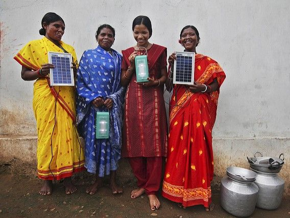 Solar engineers in Tinginaput, India