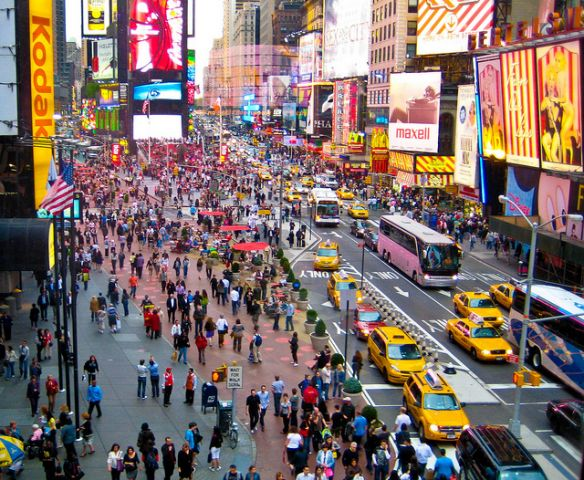 Pedestrian areas like the one in New York City's Times Square reduce speeding and traffic crashes. Photo by City Clock Magazine, Flickr.