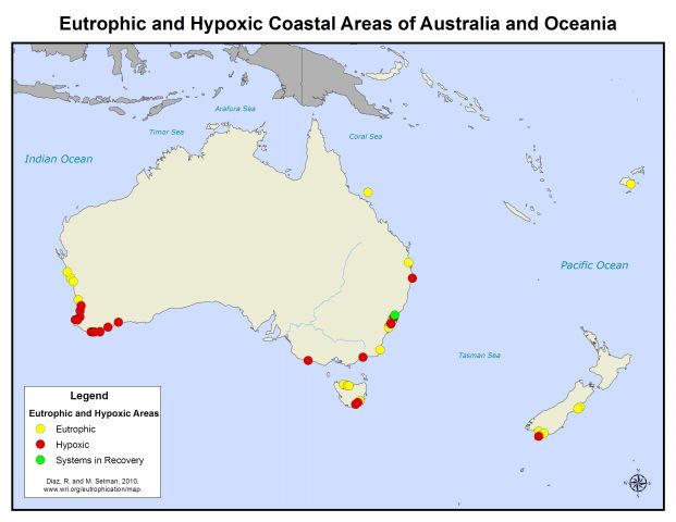 coastal eutrophic and hypoxic areas of australia and oceania