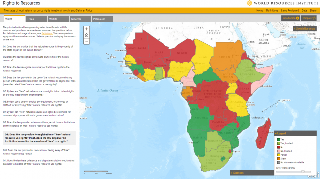 the rights to resources interactive map presents information on citizen and community rights to natural resources in sub saharan africa