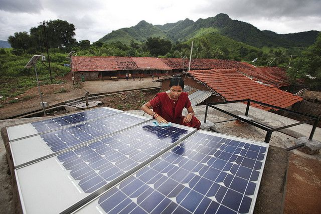 Solar panels in Tinginaput, India. Photo by Abbie Trayler-Smith (DFID)/Flickr.