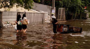 Flooded street in Jakarta, Indonesia