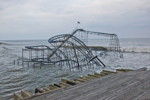 <p>Superstorm Sandy damage, Seaside Heights, New Jersey. Photo by Anthony Quintano/Flickr</p>