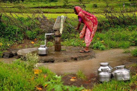 Woman fetching water