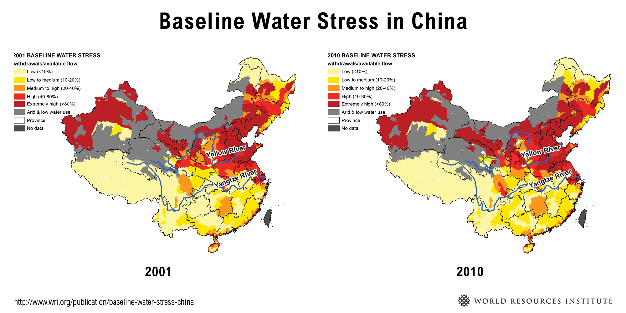 Chinas water stress is on the rise world resources institute we found that the percentage of land area in china facing high and extremely high water stress increased from 28 to 30 percent meaning 678 million people gumiabroncs Image collections