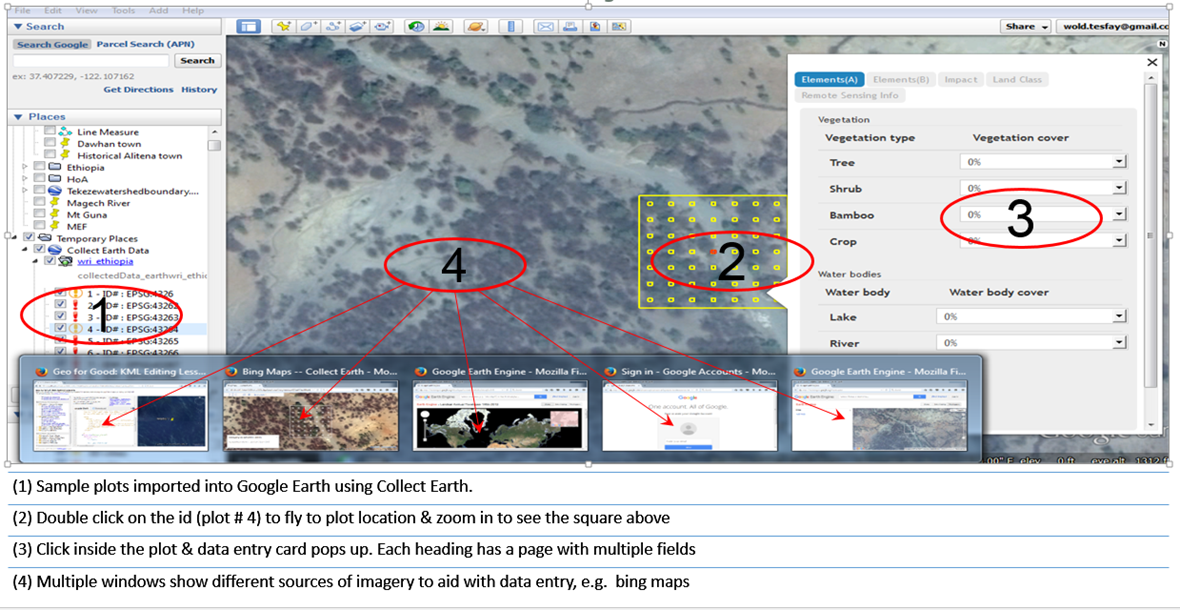 <p>Example of Collect Earth grid set for data collection.</p>