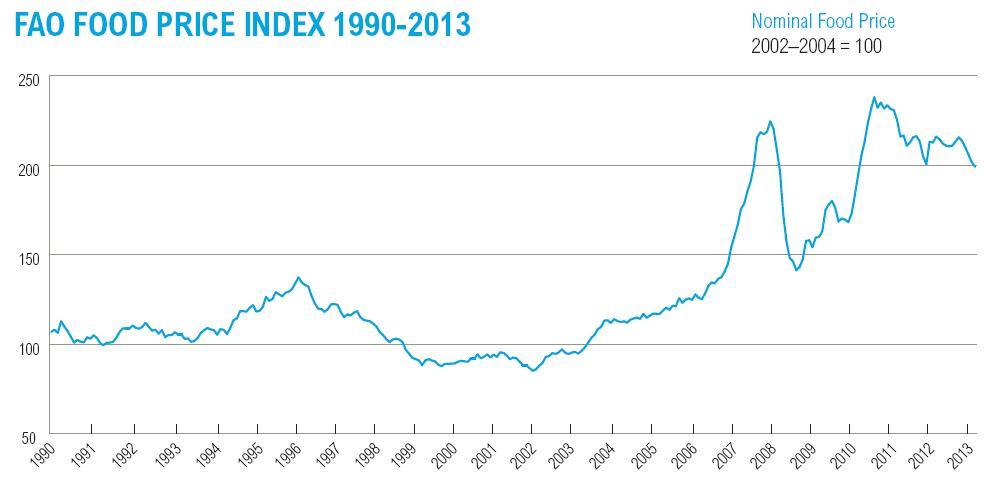 <p>Source: FAO Food Price Index (last accessed 27 October 2013)</p>