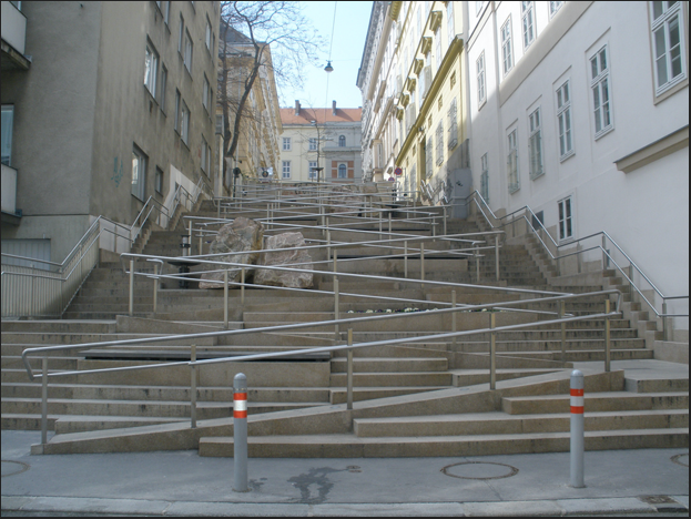 <p> A barrier-free staircase in Vienna provides increased pedestrian access. Josef Lex/Flickr.</p>