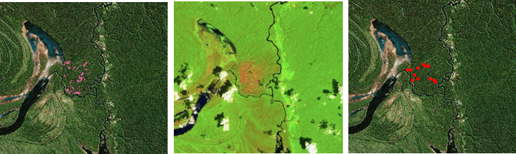 <p>2015 Amazonas state fire captured by 2016 tree cover loss data. From left to right: (Image 1) 2016 tree cover loss in pink; (Image 2) December 23, 2015 false color Sentinel-2 image of burn scar indicates the tree cover loss detected in 2016 actually occurred as early as December of 2015; (Image 3) August 2015 MODIS fire alerts give further indication that the fires and subsequent tree cover loss occurred as early as August 2015.</p>
