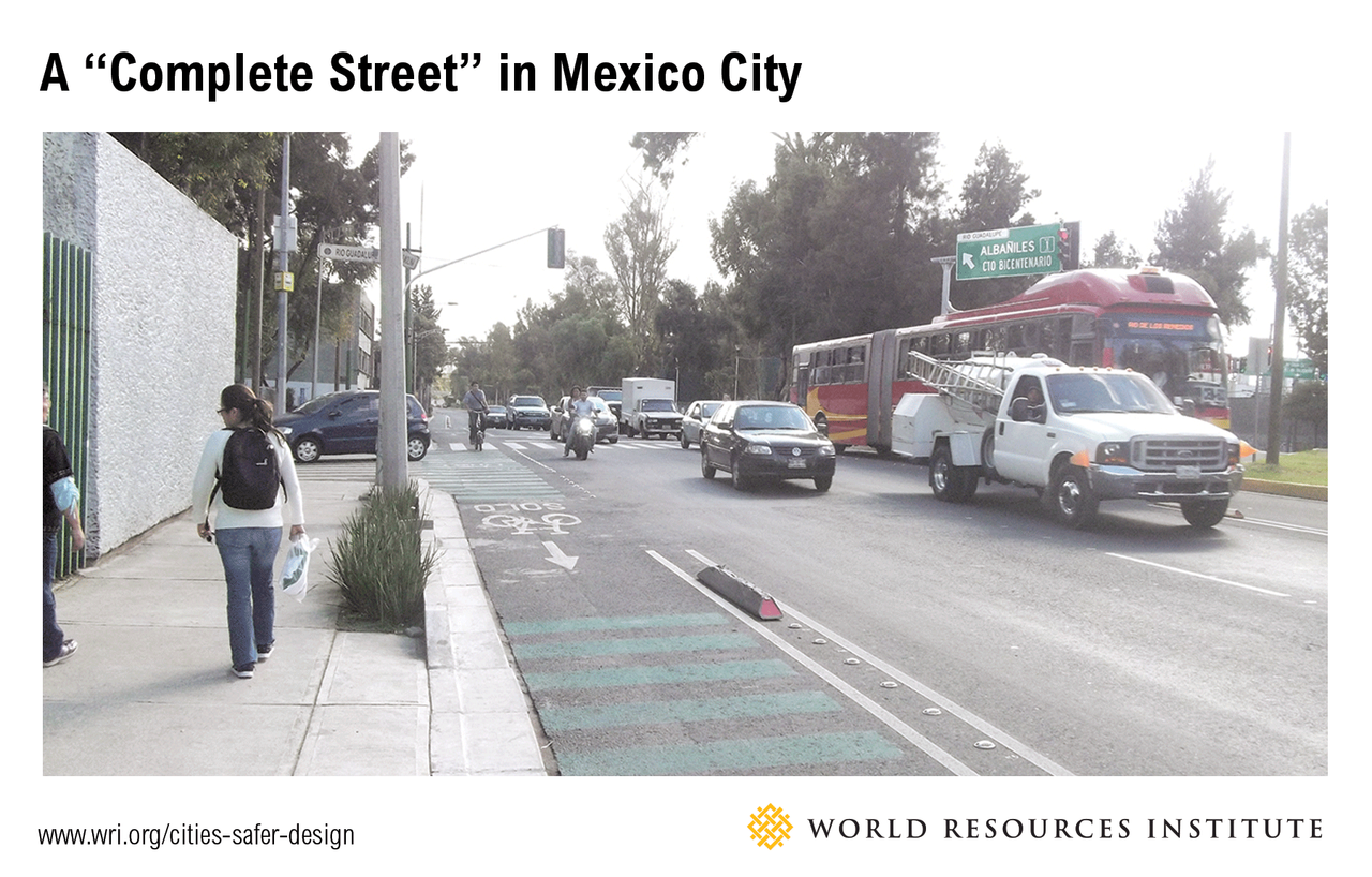 <p>Avenida Eduardo Molina in Mexico City—an arterial with dedicated bus lanes, protected bike lanes, rebuilt sidewalks, and a green central median at some segments—accommodates mass transport, mixed vehicular traffic,bicycling, and walking.</p>