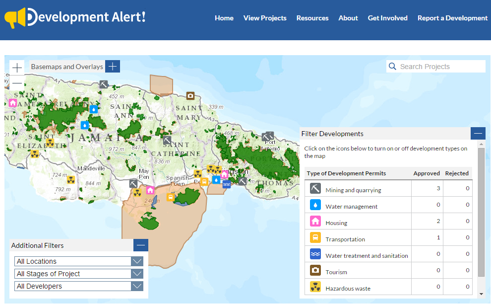 <p>Green areas represent protected forests, brown areas are legally protected areas, and blue areas are fisheries. Development Alert! currently identifies 32 proposed or approved development projects that are likely to have significant health, environmental, social, or cultural impacts.</p>