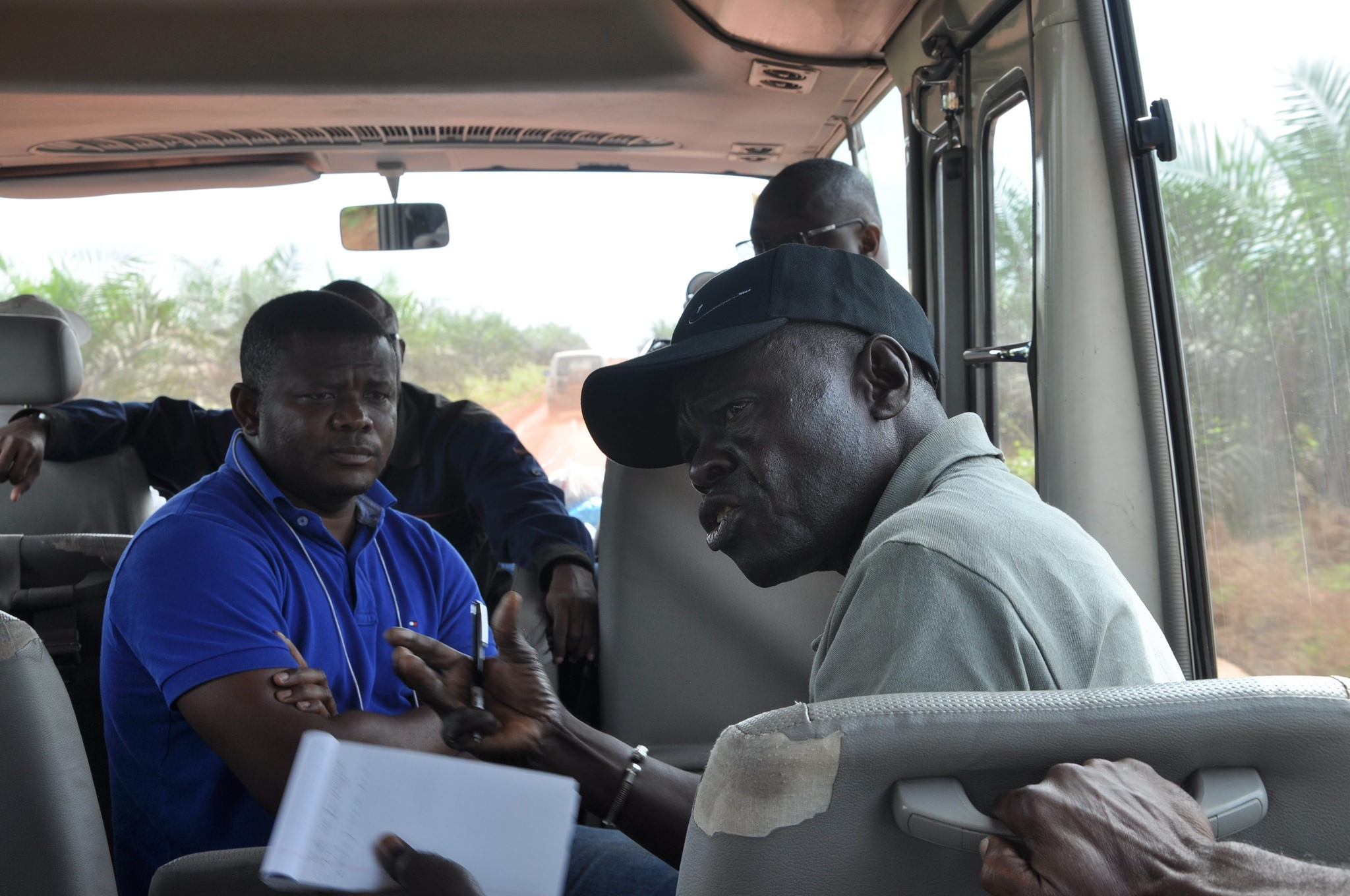 <p>Debate on the bus while travelling through Olam concession in Gabon. Photo by The Forests Dialogue</p>