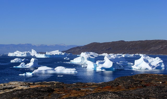 <p>Glaciers in Disko Bay, Greenland. Photo by twiga269 ॐ FEMEN/Flickr</p>