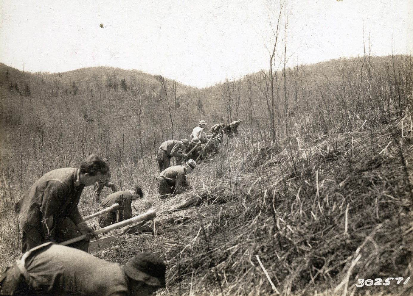 <p>Tree planting efforts on Hinkle Run in May 1935. Photo: courtesy of the Monongahela National Forest.</p>