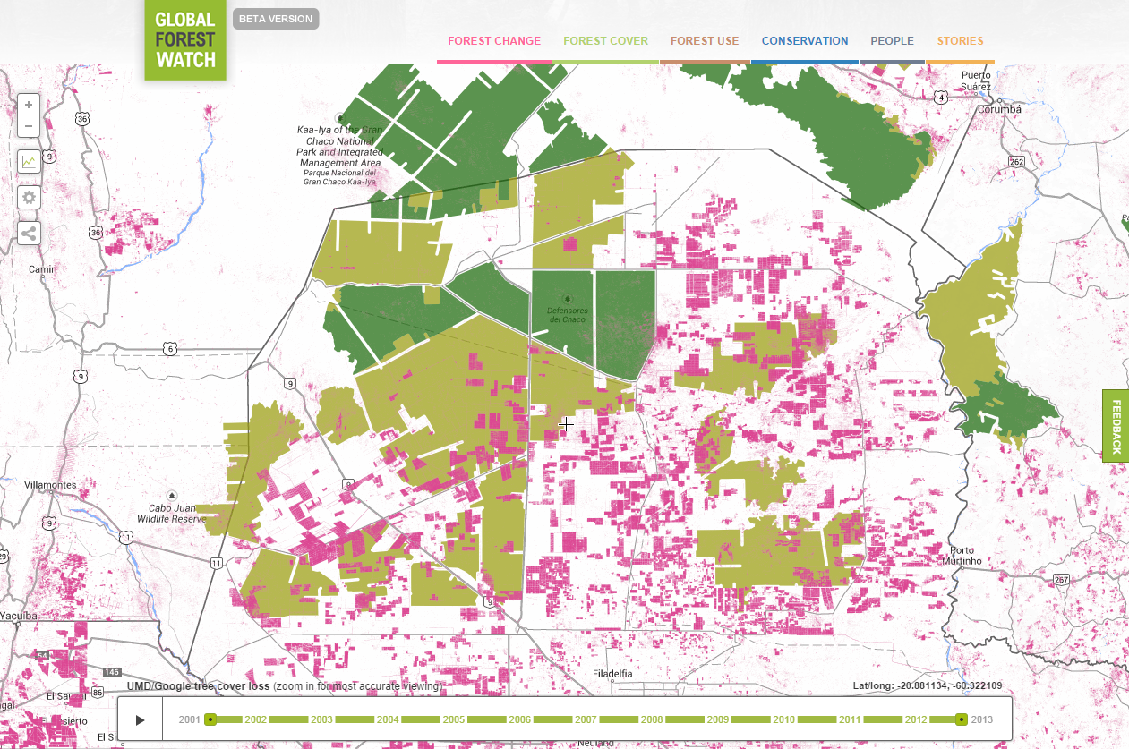 <p>Conversion of forests to agriculture in the Chaco causes tree cover loss (pink), resulting in degraded Intact Forest Landscapes (light green). Image via Global Forest Watch.</p>