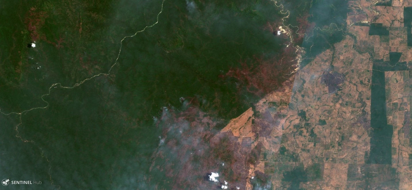 <p>Satellite imagery shows burned forest area (brown and red) in the Kayapó indigenous territory. Image by Sentinel Hub: 9/26/2017</p>