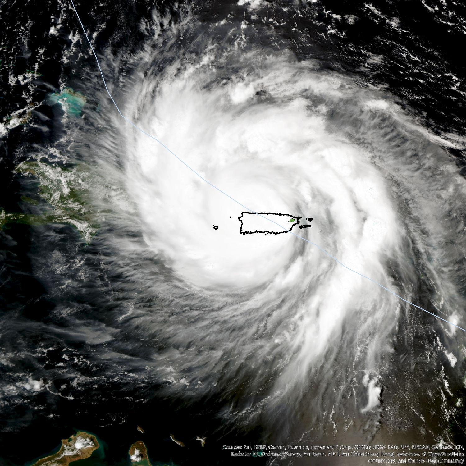 <p>Hurricane Maria passing over Puerto Rico. El Yunque National Forest is highlighted in green.</p>