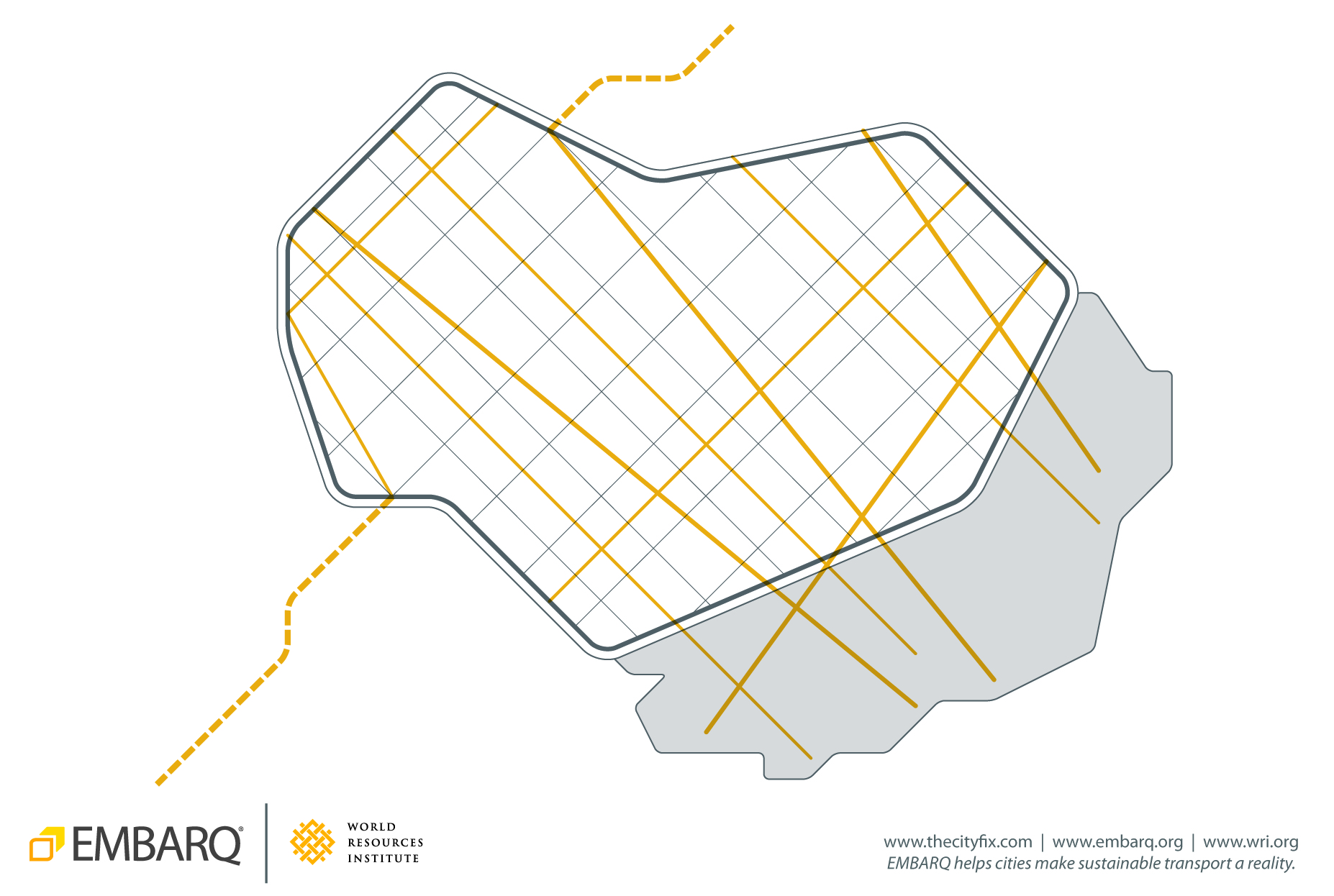 <p>A street network ensures that neighborhoods are linked together, and that future developments connect to the existing urban fabric through the continuation of its grid.</p>