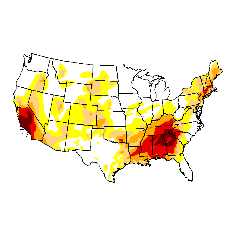<p>In late November, severe (orange) extreme (red) and exceptional (dark red) drought spread across much of the southern Appalachian region. Photo by US Drought Monitor</p>