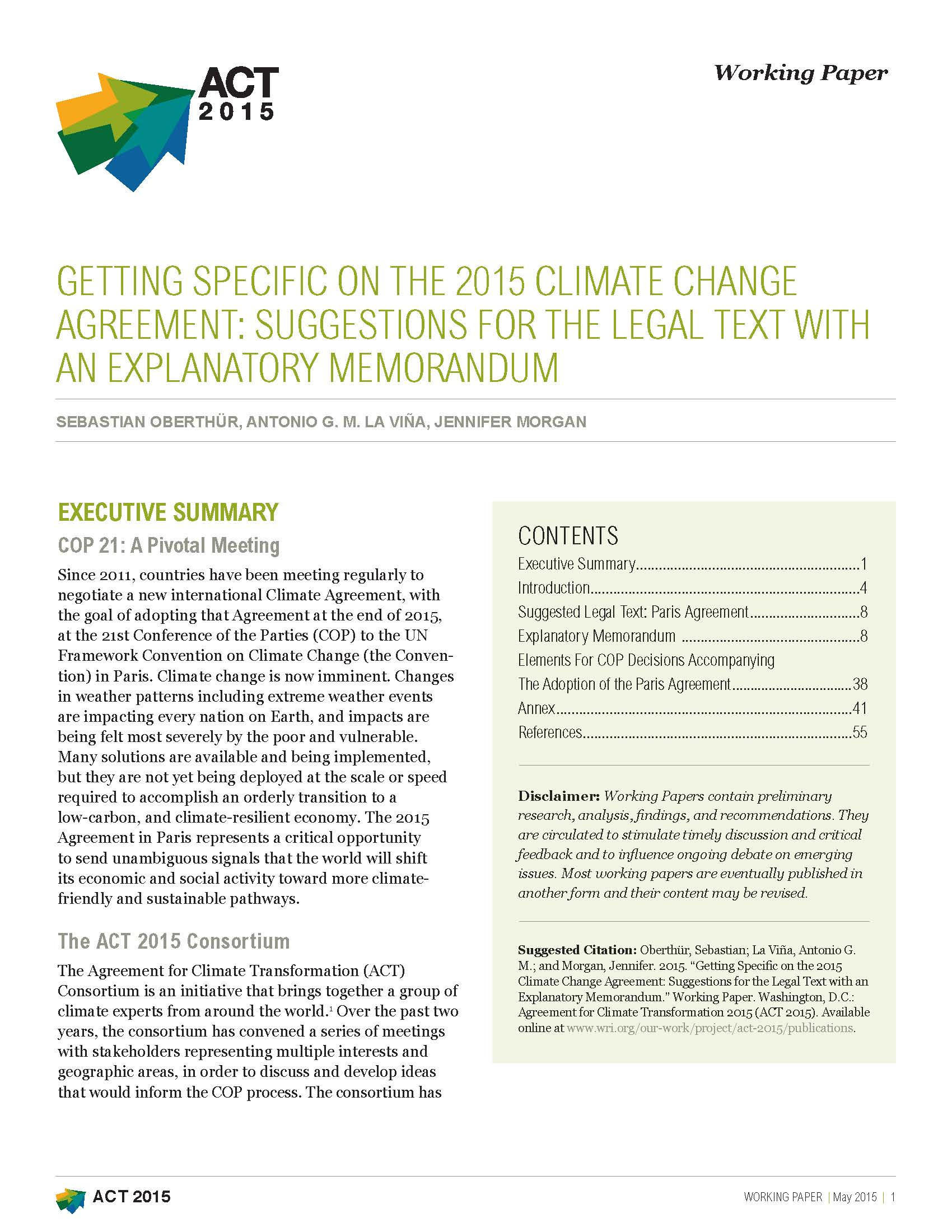 Getting Specific On The 2015 Climate Change Agreement World