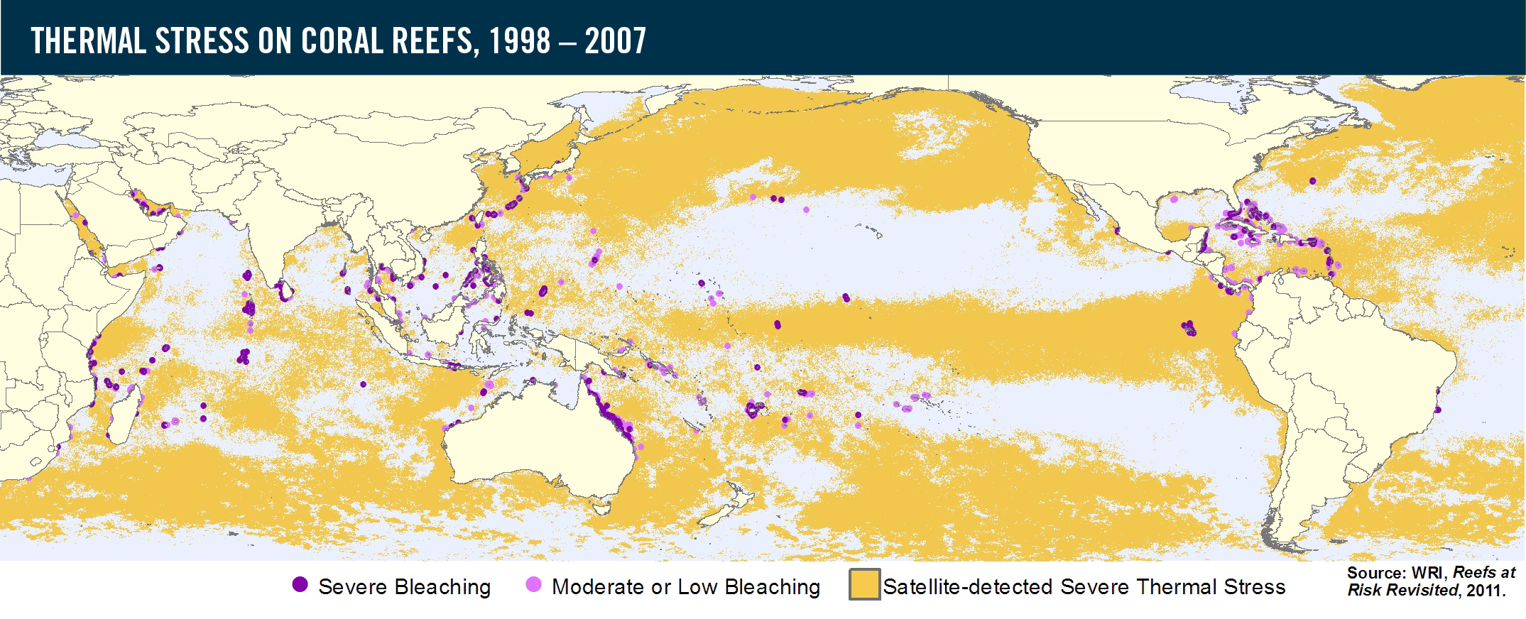 Thermal Map Of The World.Thermal Stress On Coral Reefs 1998 2007 World Resources Institute