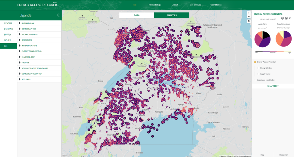 <p>Before and After: On Energy Access Explorer, datasets showing Global Horizontal Irradiation (GHI), locations of health care facilities, distribution lines and substations and population density are overlaid to provide an analysis of energy access potential in Uganda.</p>