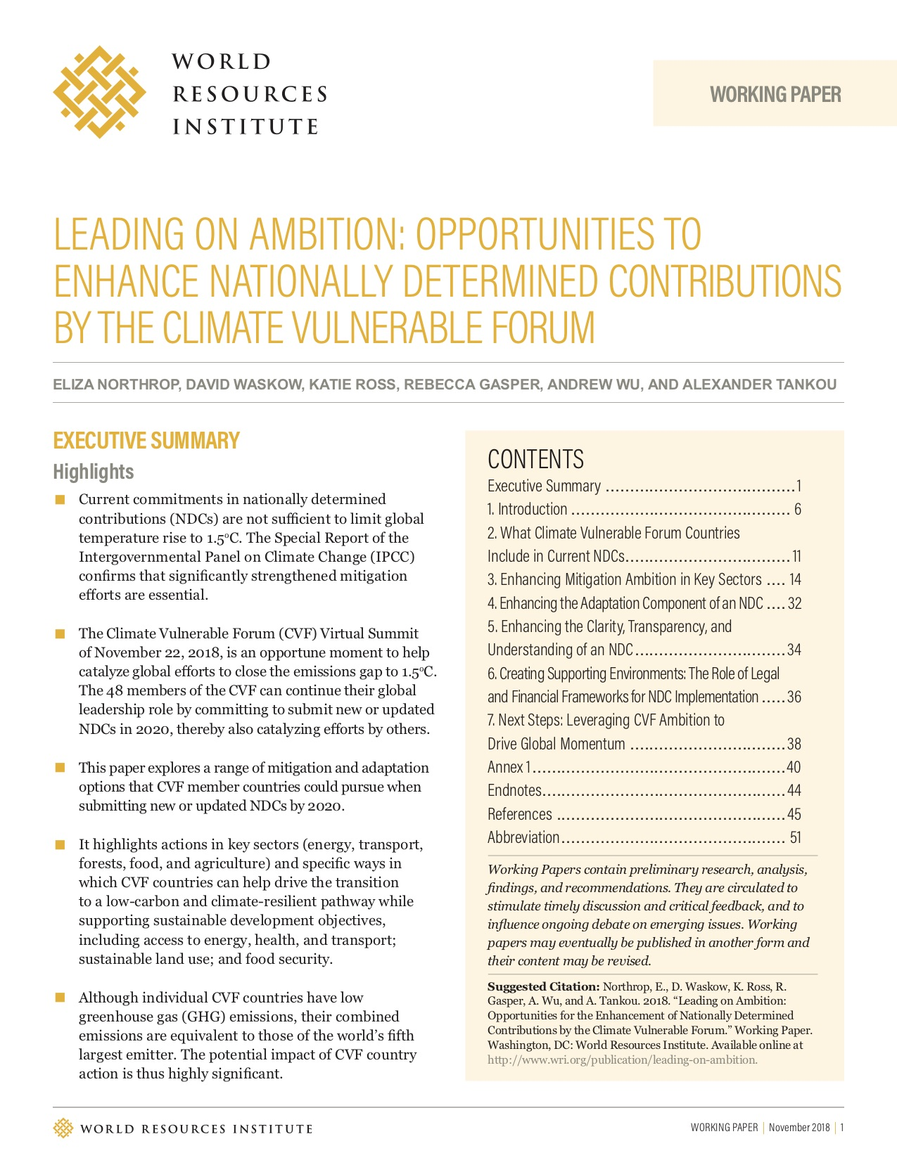 Leading On Ambition Opportunities For The Enhancement Of Nationally